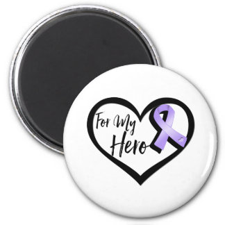 Lavender Awareness Ribbon For My Hero 2 Inch Round Magnet