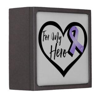 Lavender Awareness Ribbon For My Hero Keepsake Box