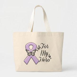 Lavender Awareness Ribbon For My Hero Large Tote Bag