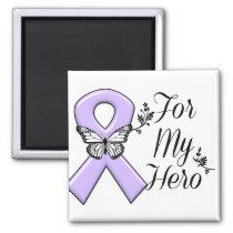 Lavender Awareness Ribbon For My Hero Magnet