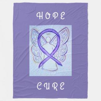 Lavender Awareness Ribbon Hope Angel Chemo Blanket