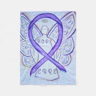 Lavender Awareness Ribbon Hope Cure Angel Blanket