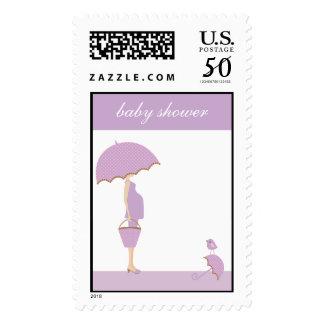 lavender baby shower postage stamp