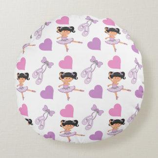 Lavender Ballerina Heart Pattern Round Pillow