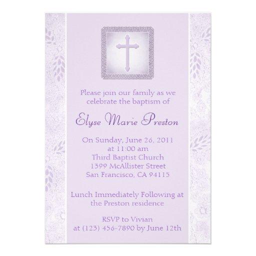 Lavender Baptism/Christening Invitation