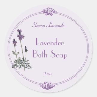 Lavender Bath Soap Label Classic Round Sticker