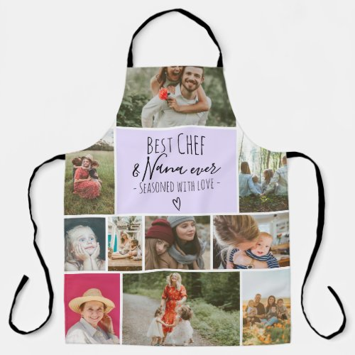 Lavender Best chef and grandma photo collage grid Apron