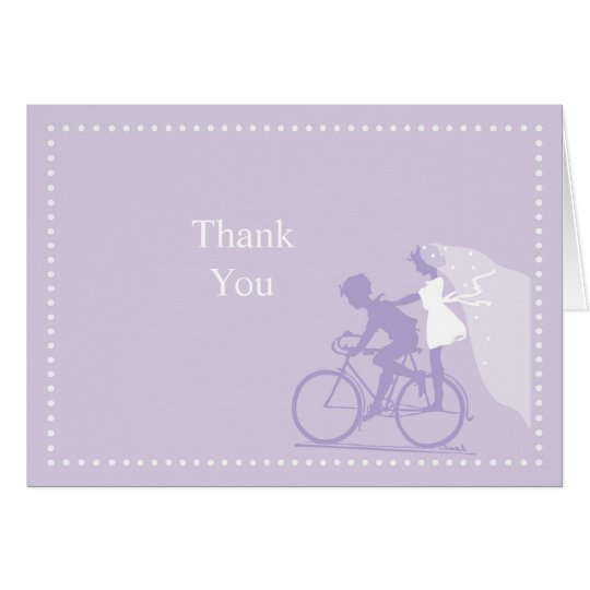 Lavender Bicycle Couple Thank You Note Card