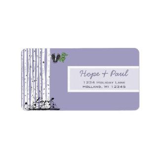 Lavender BirchTree Return Address Label