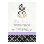 LAVENDER BLACK DAMASK BABY CARRIAGE BABY SHOWER 5X7 PAPER INVITATION CARD