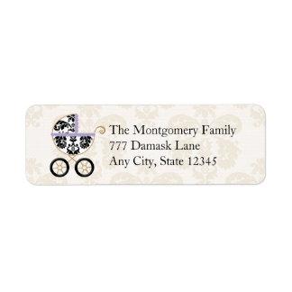 LAVENDER BLACK DAMASK BABY CARRIAGE RETURN ADDRESS LABEL