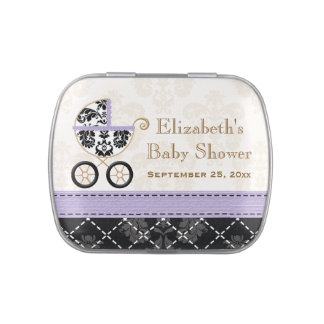 LAVENDER Black DAMASK Carriage Baby Shower Favor Jelly Belly Candy Tins
