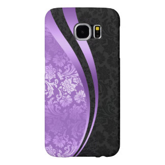 Lavender & black damasks dynamic stripes samsung galaxy s6 case