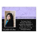 "Lavender Black Swirls Photo Graduation Invitation 5"" X 7"" Invitation Card"