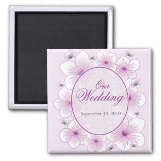 Lavender Blossom Flowers Romantic Wedding Announce 2 Inch Square Magnet