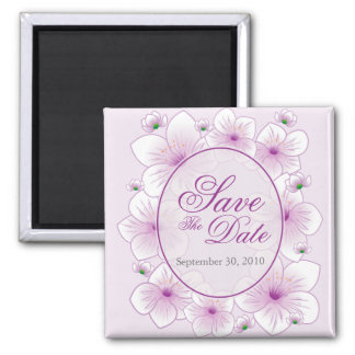 Lavender Blossom Romantic Save the Date Announce 2 Inch Square Magnet