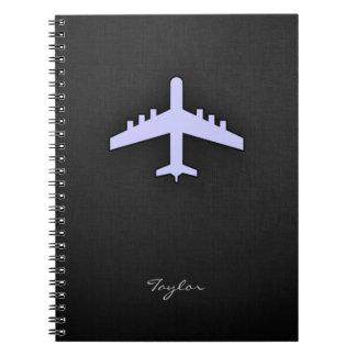Lavender Blue Airplane Spiral Notebook