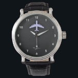 """Lavender Blue Airplane Watch<br><div class=""""desc"""">Cool,  sleek,  Lavender Blue  large airplane,  airliner on black and dark gray textured background.  Great gift for commercial airline pilots or kids that love aircraft!  Add your name or text to personalize it! Images used on this item are licensed and &#169; Graphics Factory.com</div>"""