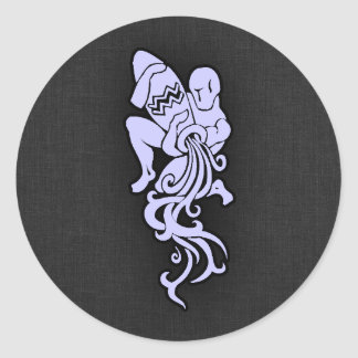 Lavender Blue Aquarius Classic Round Sticker