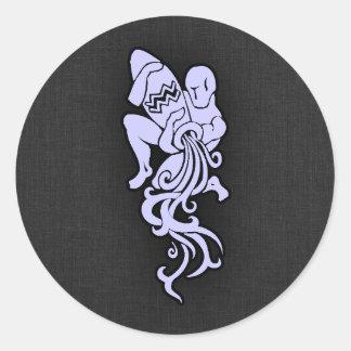 Lavender Blue Aquarius Round Sticker