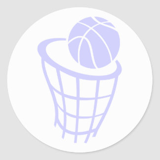 Lavender Blue Basketball Classic Round Sticker