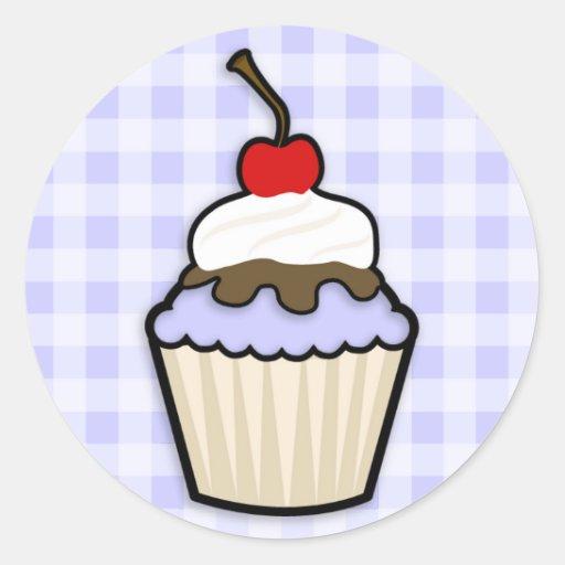 Lavender Blue Cupcake Round Sticker