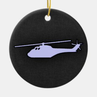 Lavender Blue Helicopter Double-Sided Ceramic Round Christmas Ornament