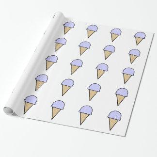 Lavender Blue Ice Cream Cone Wrapping Paper