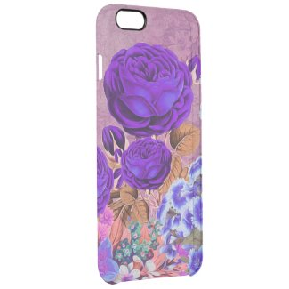 Lavender Blue Roses Clear iPhone 6 Plus Case