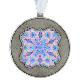 Lavender Blue Snowflake Design on Pewter Ornament