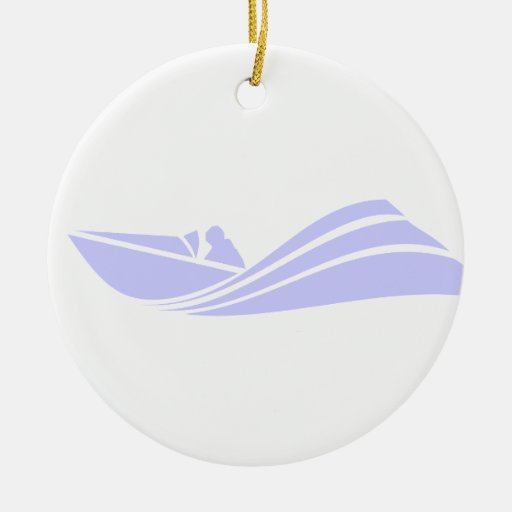Lavender Blue Speed Boat Double-Sided Ceramic Round Christmas Ornament