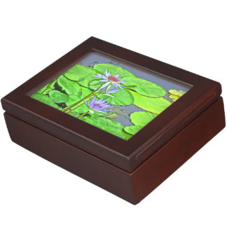 LAVENDER-BLUE WATER LILIES IN POND/INSIDE QUOTE MEMORY BOX
