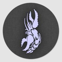 Lavender Blue Zodiac Cancer Crab Classic Round Sticker