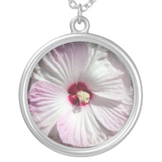 Lavender Blush Hibiscus Silver Plated Necklace