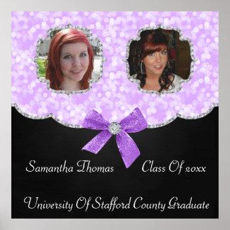 Lavender Bokeh Dots Bling 2 Photos Graduation Poster