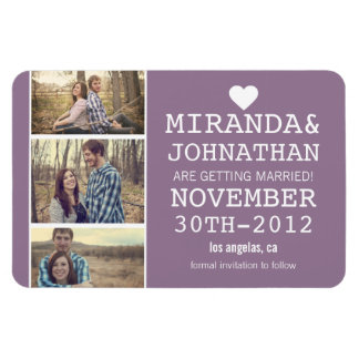 Lavender Bold Photo Strip Save The Date  Magnet