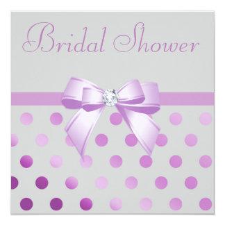 Lavender Bow Polka Dots Grey Bridal Shower Card