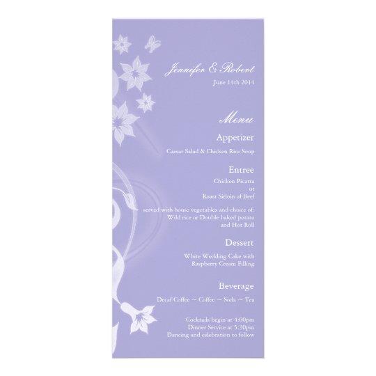 Lavender Branch Wedding Menu Card