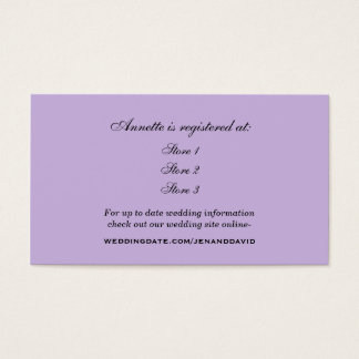 Lavender Bridal Shower Registry Card