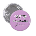 Lavender bridesmaid buttons personalized with name