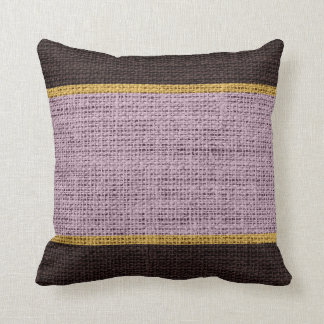Lavender & Brown Rustic Burlap Jute Background Throw Pillow