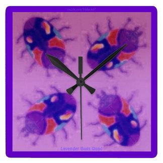 Lavender Bugs Quad Wallclock