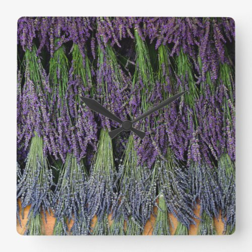 Lavender Bundles on a Drying Rack Square Wall Clock