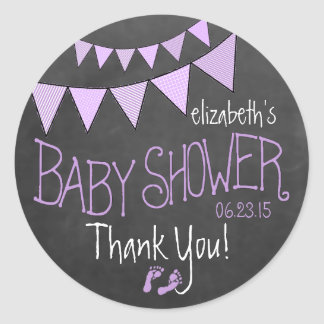 Lavender Bunting Flags Chalkboard Look Baby Shower Classic Round Sticker