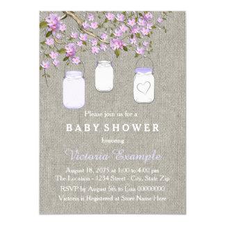 Lavender Burlap Mason Jar Baby Shower Card