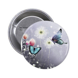 Lavender Butterfly Abstract Pinback Buttons