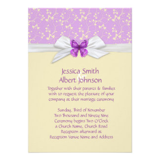 Lavender Butterfly Flowers Damask Wedding Invite