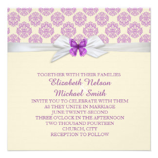 Lavender Butterfly Ornaments Damask Wedding Invite
