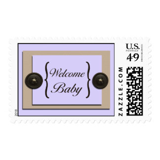 Lavender Buttons & Brackets Postage Stamps