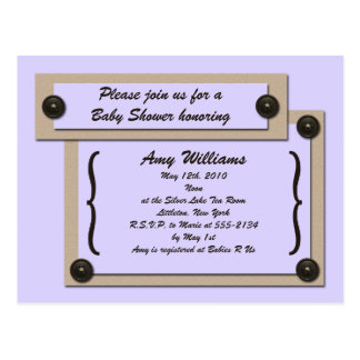 Lavender Buttons & Brackets Shower Invitation Postcard